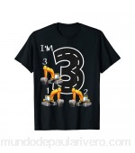 3rd Birthday Excavator Tractor Digger I\'m 3 Counting 123 Camiseta