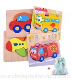 BONROB Wooden Jigsaw Puzzles for Toddlers 1 Year Old Girl& Boy Gifts 4 PCS Educational Wooden Puzzles